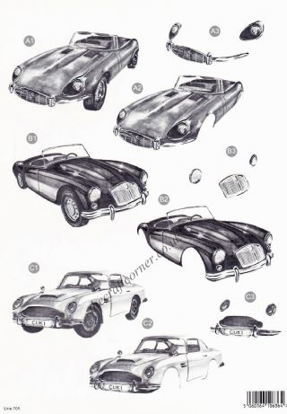 Classic Cars Monochrome with Foil Accents Die Cut 3d Decoupage Sheet From Craft UK Ltd